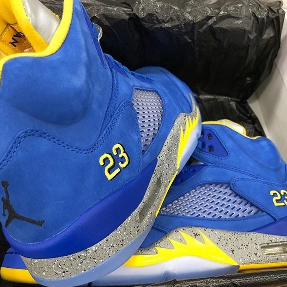 Suede Blue And Yellow Retro 5s Jordans